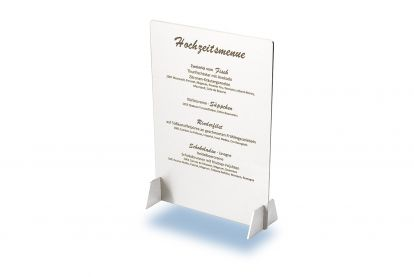 Menue written on stainless steel card by deep engraving