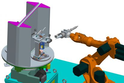 CAD model of a <strong>ER</strong>LASER<sup>®</sup> WELD ROBOT  laser welding cell with rotary table and vertical axis for work piece movement